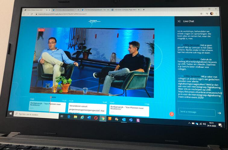 screenshot van het online event op de laptop